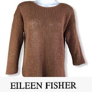 EILEEN FISHER Camel Wool/Nylon Bland Crop Sweater